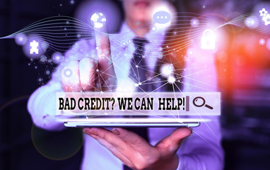 Conceptual hand writing showing Bad Credit Question We Can Help. Concept meaning offering help after going for loan then rejected Picture photo network scheme with modern smart device