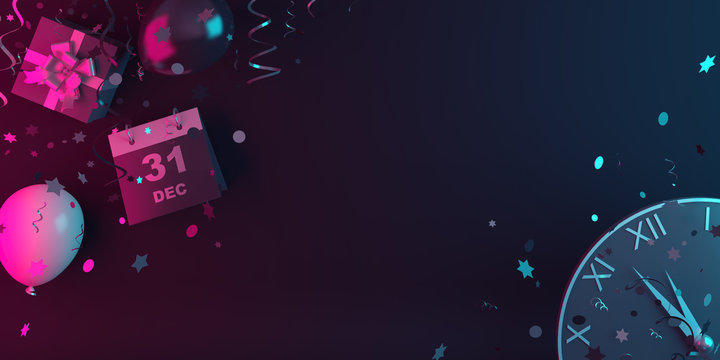 Happy New Year eve design creative concept, December 31 calendar, gift box, balloon, clock and glittering confetti on blue pink gradient background. Copy space text area, 3D rendering illustration.