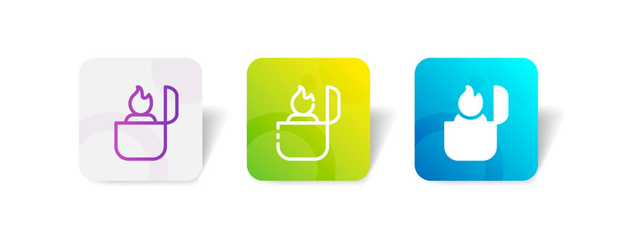 gas lighter outline and solid icon in smooth gradient background button