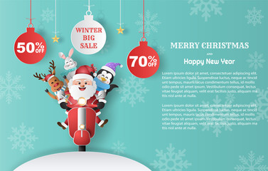 Paper art style of Santa Claus with friends on scooter, winter sale promotion banner with discount offer on special occasion.