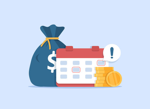 Calendar and money as payment date reminder,budget or financial planning