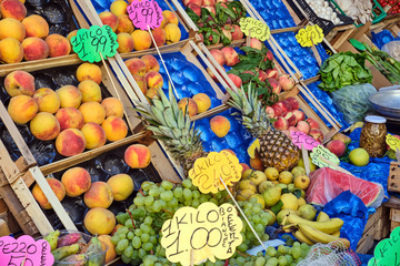 Great choice of fresh fruit seen at a market in Naples, Italy