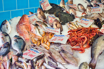 Great choice of fresh fish and seafood seen at a market in Naples, Italy