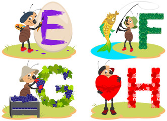 English children's alphabet E, F, G, H. Egg, fish, grapes, heart funny cute ant insect helps to learn English letters