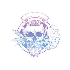 Sketch, skull with hemp leaf