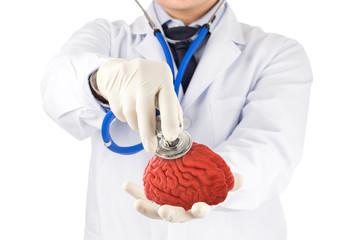 doctor use stethoscope check 3D brain , concept brain disease