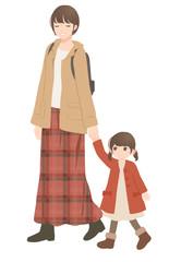 秋 散歩する親子