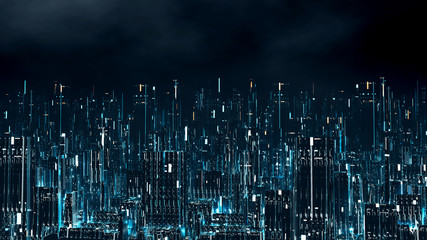 3D Rendering of digital city at night with various color led glowing lights. Concept of big data, machine learning, business artificial intelligence, night life, virtual reality, panorama view