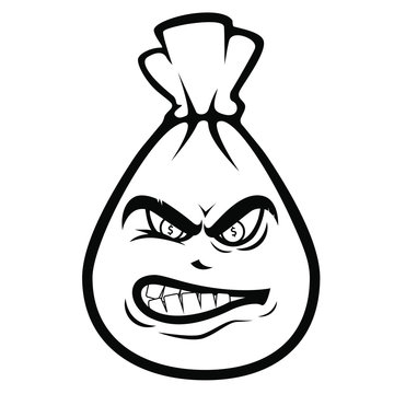 angry money bag black and white icon, or big poster, money, bank, collector