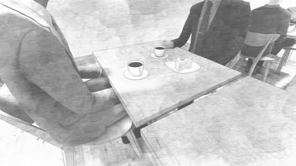 カフェ風 壁白 人有り イラスト35
