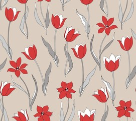 Wildflower tulip seamless pattern in a hand drawing style. Flowers on  ivory background, texture, wrapper, textiles pattern.