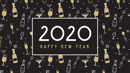 Wall Mural - New Year 2020 banner. Pattern with champagne,glasses and extracted cork. Glittery shining golden objects on black for holiday designs