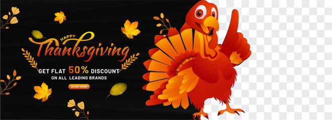 Thanksgiving banner,poster vector illustration of turkey birth with thanksgiving calligraphy text on 50% discount on all leading brands . Png background.