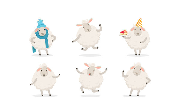 Cute Cartoon Sheep Vector Set. Farm Wooly Character Wearing Warm Clothing