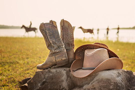 Wild West retro cowboy hat and boots