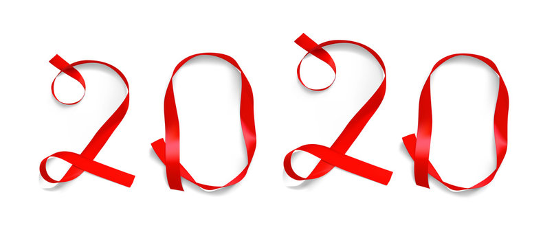 New year 2020 from the ribbons. Vector illustration on a white background. EPS10.