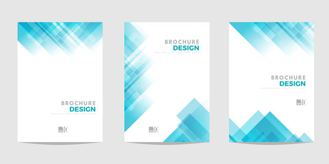 Design template for Brochure, Flyer or Depliant for business purposes. Blue vector geometric abstract background with diagonal squares