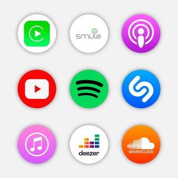 Set of popular icon for music application, social media logos of Smule, Car play, podcast, youtube, spotify, shazam, itunes, deezer, SoundCloud. Circle icon