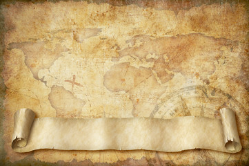 Spoed Fotobehang Retro vintage world map with old scroll illustration based on image furnished by NASA