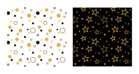 Wall Mural - seamless party patterns with stars and confetti