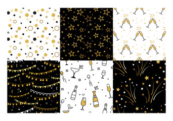 Wall Mural - Collection of seamless pattern designs for celebrations , birthday and graduation party. In gold, white and black colors. Vector illustration