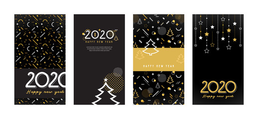 Wall Mural - Happy New Year- 2020 . Collection of greeting background designs, New Year, social media promotional content. Vector illustration