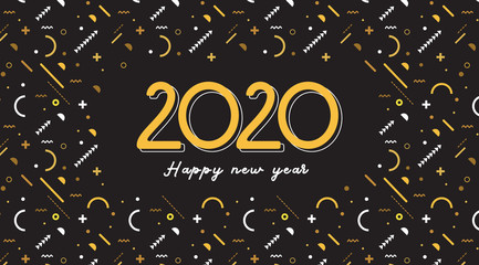 Wall Mural - Happy New Year- 2020 . Banner with greeting background design, New Year, social media promotional content. Vector illustration