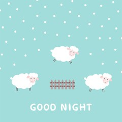 Good night baby card with the cute sheep jumping over a fence. Sweet dreams poster. Vector illustration