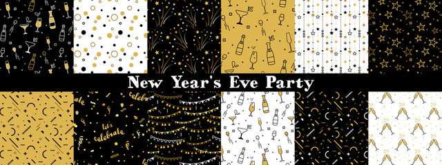 Collection of seamless pattern designs for celebrations , birthday and graduation party. In gold, white and black colors. Vector illustration
