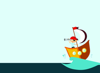 background boy pirate looking for treasure, pictures for children, development