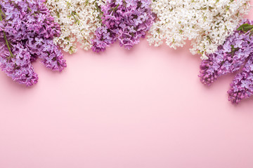 Branches of lilac on pink background. White and purple lilac. Romantic spring mood. Top view. Copy for your text - Image