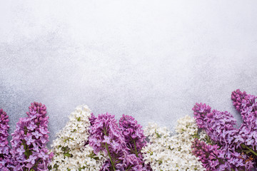Printed roller blinds Lilac Branches of purple lilac on stone background. Romantic spring mood. Top view. Copy for your text - Image