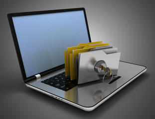 3D laptop and files concept . 3d illustration