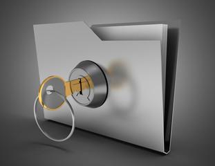 3d office folder and key . 3d illustration