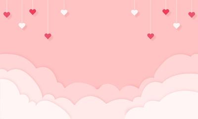 Hintergrund in Papierschnitt, Wolken und Herzen hängen von der Decke. Pink Banner, Freisteller. Valentinstag, Muttertag