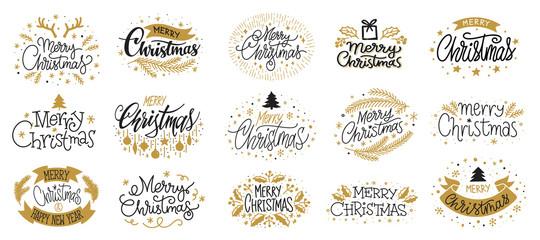 Fototapeta Merry christmas new year gold black lettering obraz