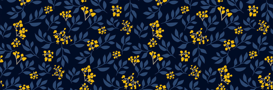 Floral seamless pattern with small yellow flowers, tree branches on dark background. Retro botanical print. Vector hand-drawn illustration. Modern vintage design, Wallpaper, fabric, backdrop...