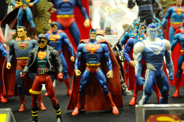 KUALA LUMPUR, MALAYSIA -MARCH 24, 2017: Selected focused fictional character of Superman action figures from DC movies and comic. The action figure toys in various costumes display for the public.