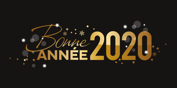 Bonne Annee 2020 doré or fond noir