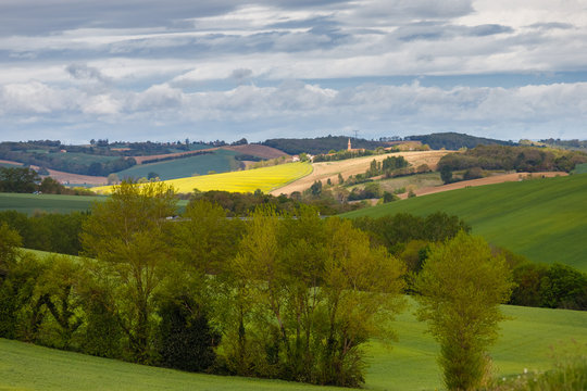 """Country landscape in """"Occitanie"""", south of Toulouse, France."""