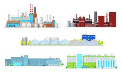 Inustrial buildings and factory facilities. Industrial plant vector icons of oil refinery, coal mining, car manufacturing and machine engineering, pharmaceutical industry