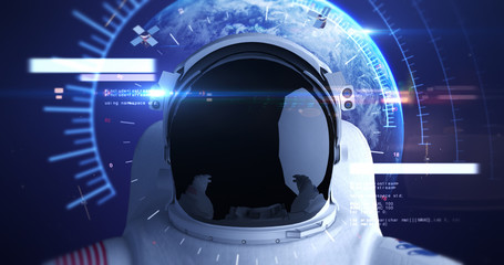 Astronaut Flying In Space With Advanced Hud Helmet. Planet Earth Is Orbiting On Background. Technology Related 3D Illustration Render