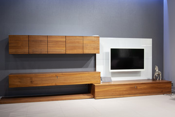 Living room large white led TV on wooden shelf. modern loft style