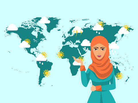 Muslim woman TV weather forecast reporter at work vector illustration. Muslim girl meteorology at television broadcast.