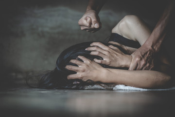 Man physically abusing his girlfriend, help victim of domestic violence, Sexual abuse and rape, Human trafficking, stop physical abuse women concept
