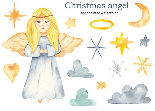 Christmas cute angel girls watercolor clipart, nimbus, stars, clouds, heart, crescent, snowflakes