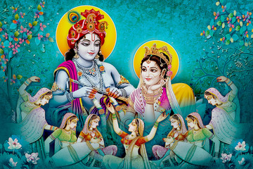 Indian Lord Beautiful Radha Krishna Wallpaper and Colorful Background