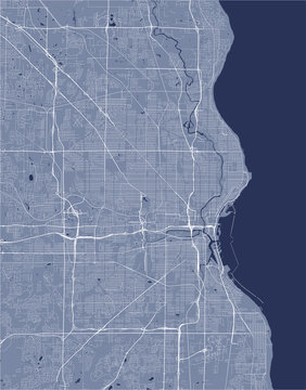 map of the city of Milwaukee, Wisconsin, USA