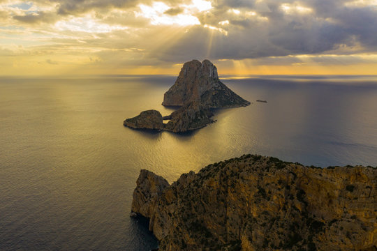 Aerial view of the island of Vedra during sunset. Ibiza Spain
