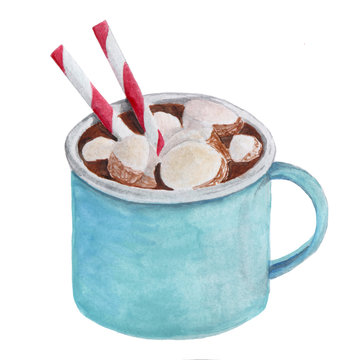 watercolor cocoa with marshmallows in  a blue  mug with a straws isolated on white